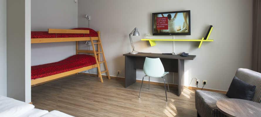Der er større værelser til de større familier. Hør nærmere om de mange muligheder Thon Hotel Hallingdal tilbyder.
