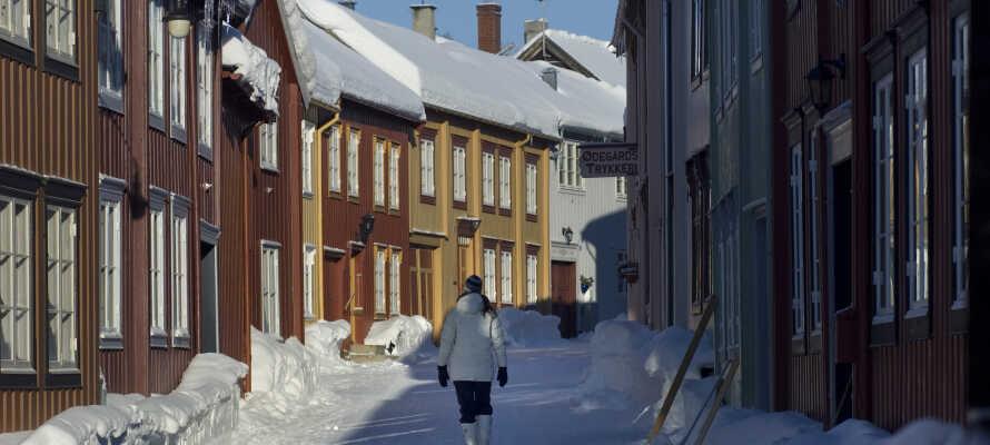 Om vinteren ligger snøen i byens gater og frister til en kjelketur.