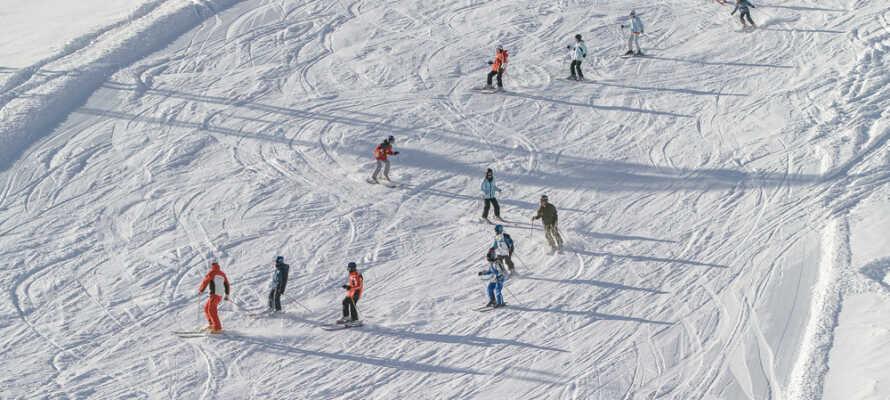 Der findes flere skiresorts omkring hotellet, som byder på 139 km præparerede løjper og I kan leje ski på hotellet
