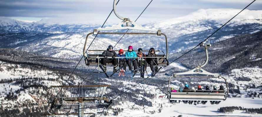 Ski-området, Vrådal Panorama, ligger kun 5 km fra hotellet og her venter en gøy dag i snøen