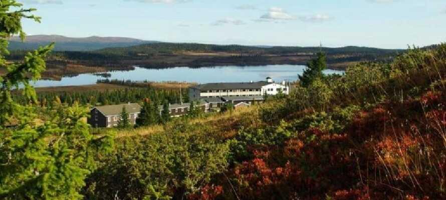 Fra hotellet er der en meget smuk udsigt over Hornsjøen og bjergene i baggrunden.