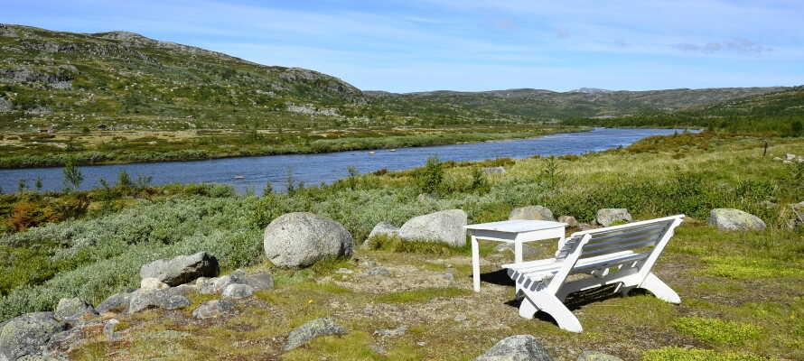 Panoramaudsigt til Hardangervidda-bjerget og dalen med Holmevannet.