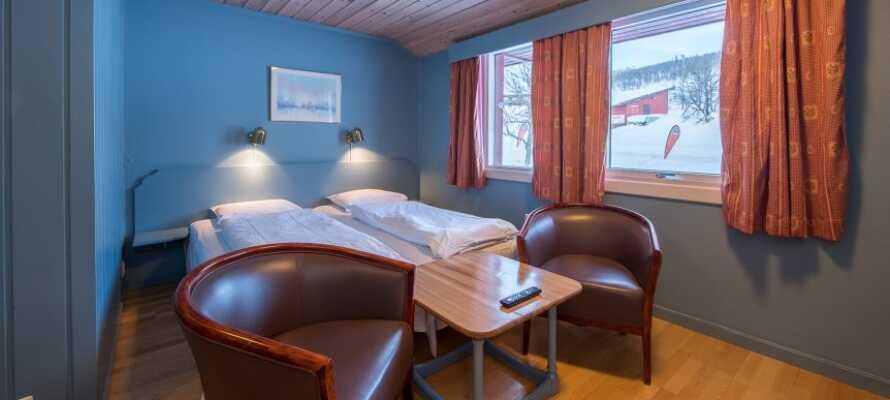 I bliver indkvarteret på lyse værelser, som udgør en god base for jeres ophold i de norske fjelde.