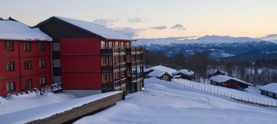 Bo på et tradisjonelt fjellhotell i Telemarks største ski-område med fritaksmuligheter rett utenfor hotellet.