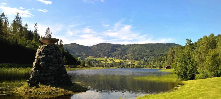 I har en ideel base for vandre- og cykelture i Telemarks fantastiske natur, og hotellet ligger også tæt på en sø med badestrand.