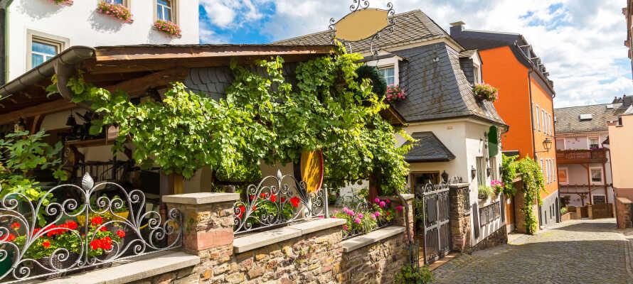 Besøg den charmerende vinby, Rüdesheim am Rhein, som huser den populære gågade, Drosselgasse.
