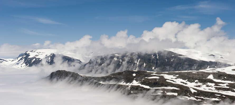 Hotellet ligger omgivet af fantastisk natur, og fra Dalsnibba er der en skøn udsigt over Geirangerfjorden.