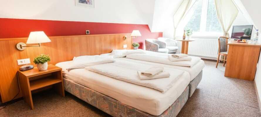 Hotellets værelser tilbyder hyggelige og komfortable rammer under opholdet ved Rhinen.