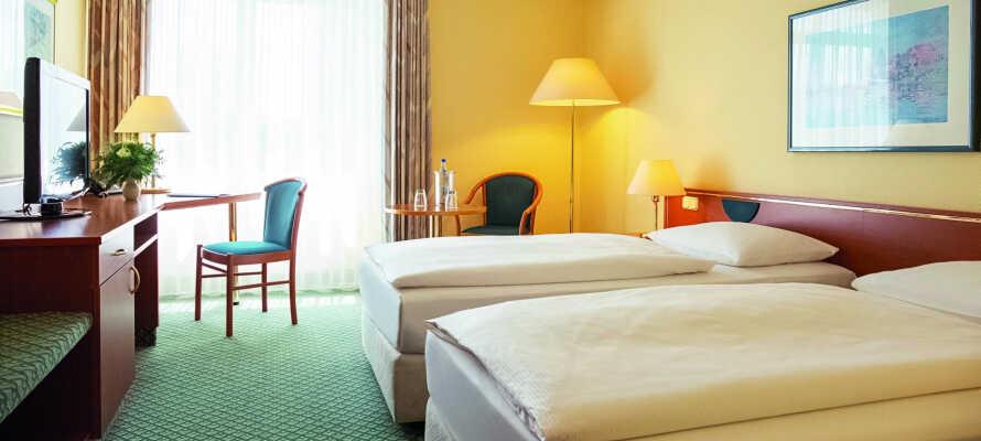 Værelserne på Victor's Residenz-Hotel er elegant og komfortabelt indrettet.